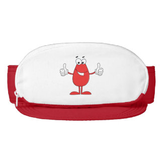 Funny red cartoon with two thumbs up visor