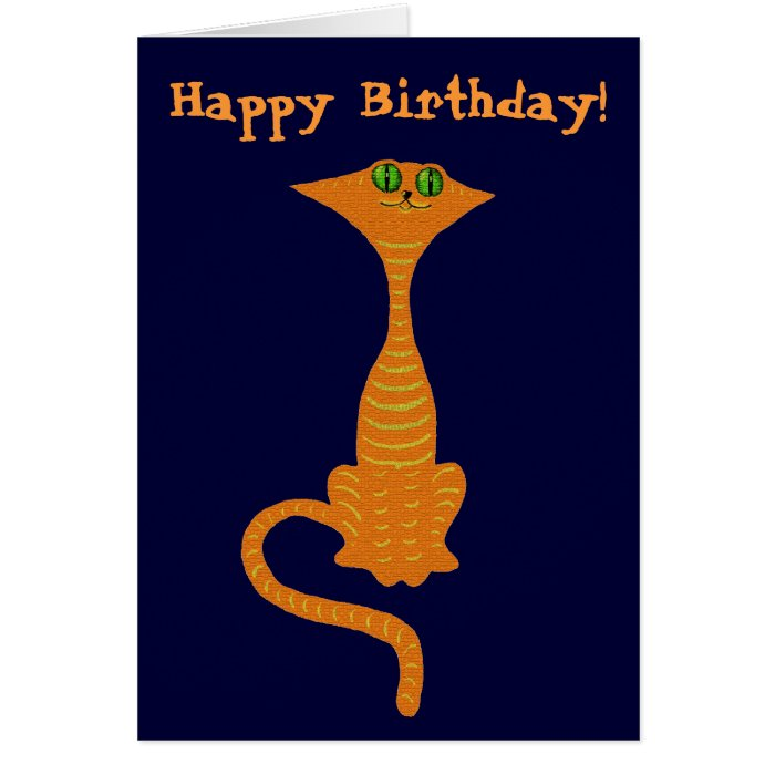 Funny red cat birthday card