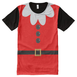 Funny Red Christmas Elf Holiday Costume T-Shirt