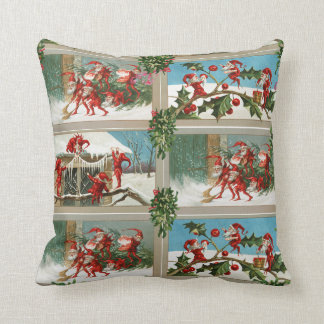 FUNNY RED CHRISTMAS ELVES,HOLLYBERRIES,MISTLETOES THROW PILLOW