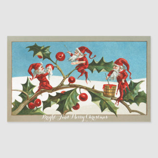 FUNNY RED CHRISTMAS ELVES PAINTING HOLLYBERRIES RECTANGULAR STICKER