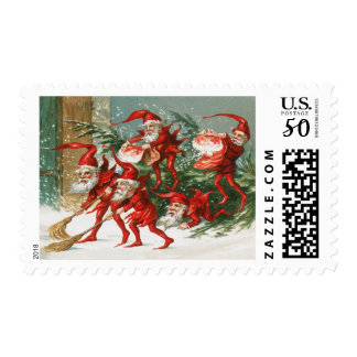 FUNNY RED CHRISTMAS ELVES SWEEPING IN THE SNOW POSTAGE