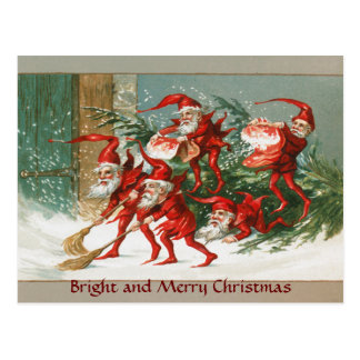 FUNNY RED CHRISTMAS ELVES SWEEPING IN THE SNOW POSTCARD
