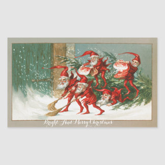 FUNNY RED CHRISTMAS ELVES SWEEPING IN THE SNOW RECTANGULAR STICKER
