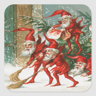 FUNNY RED CHRISTMAS ELVES SWEEPING IN THE SNOW SQUARE STICKER
