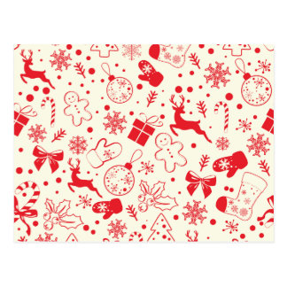 Funny Red Christmassy Pattern Postcard