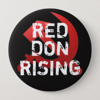 "Funny ""Red Dawn Rising"" with Russian Sickle Pinback Button"