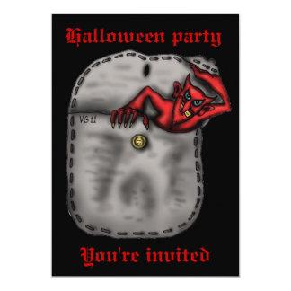 Funny red devil in the pocket Halloween invitation