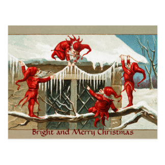 FUNNY RED ELVES AND CHRISTMAS DECOR WITH ICICLES POSTCARD