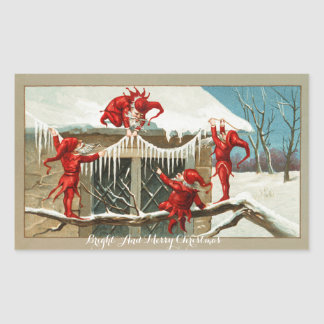 FUNNY RED ELVES AND CHRISTMAS DECOR WITH ICICLES RECTANGULAR STICKER