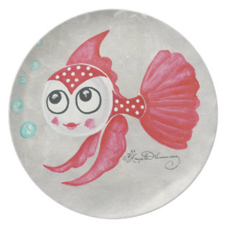 Funny Red Fish Melamine Plate