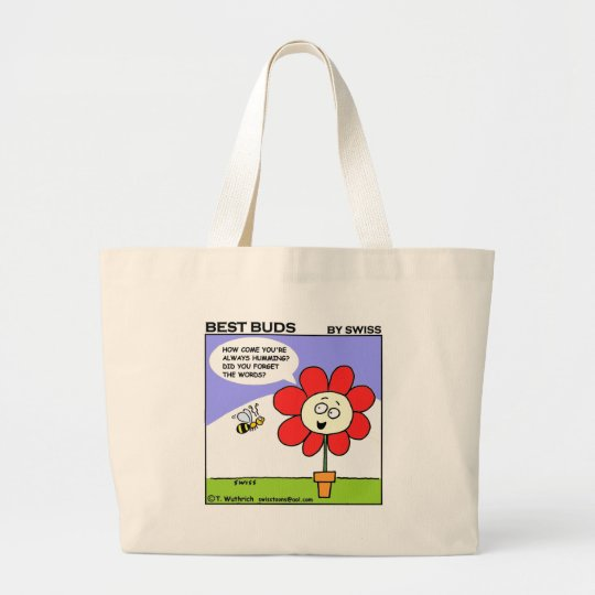 Funny Red Flower and Humming Bee Large Tote Bag