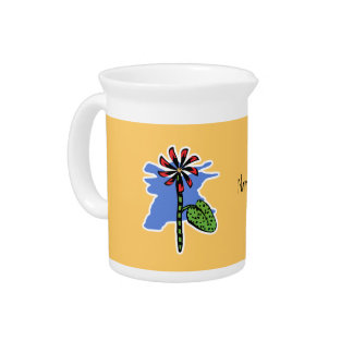 Funny Red Flower Beverage Pitcher