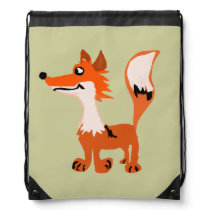Funny Red Fox Art Drawstring Backpack
