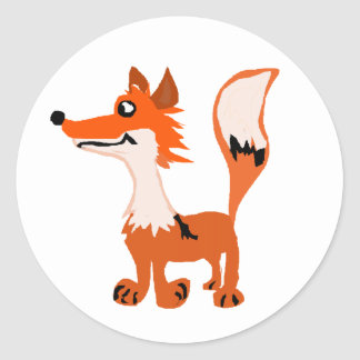 Funny Red Fox Art Stickers