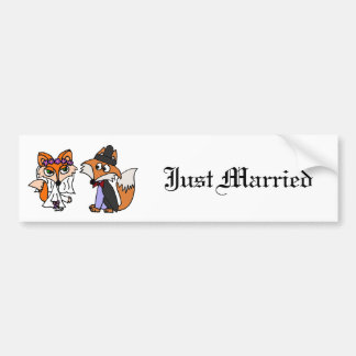 Funny Red Fox Bride and Groom Wedding Art Bumper Sticker