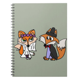 Funny Red Fox Bride and Groom Wedding Art Notebook