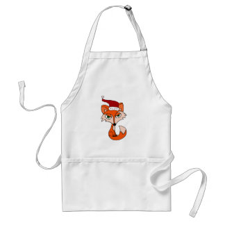 Funny Red Fox in Santa Hat Adult Apron