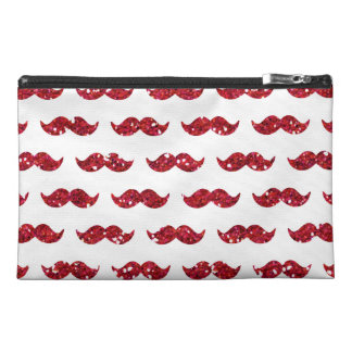 Funny Red Glitter Mustache Pattern Printed Travel Accessory Bag