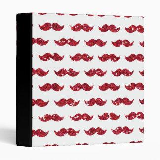 Funny Red Glitter Mustache Pattern Printed Vinyl Binder