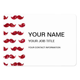 Funny Red Glitter Mustache Pattern Printed Large Business Cards (Pack Of 100)