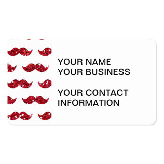 Funny Red Glitter Mustache Pattern Printed Double-Sided Standard Business Cards (Pack Of 100)