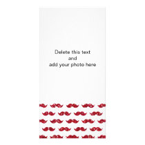 Funny Red Glitter Mustache Pattern Printed Card