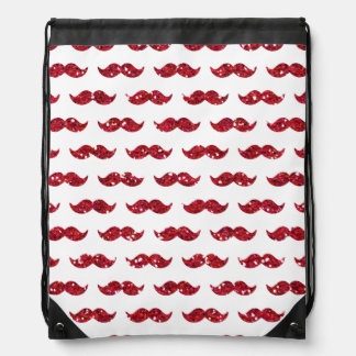 Funny Red Glitter Mustache Pattern Printed Drawstring Bag