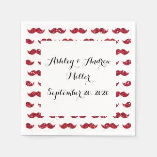 Funny Red Glitter Mustache Pattern Printed Napkin