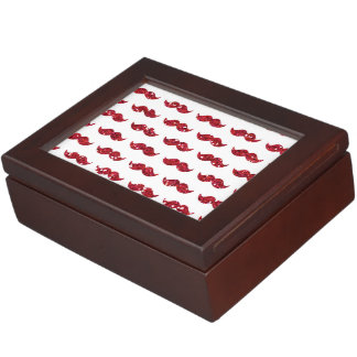 Funny Red Glitter Mustache Pattern Printed Keepsake Box