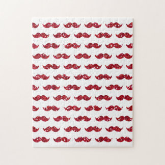 Funny Red Glitter Mustache Pattern Printed Jigsaw Puzzles