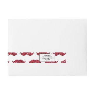 Funny Red Glitter Mustache Pattern Printed Wrap Around Address Label