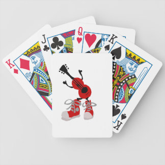Funny Red Guitar in Red Sneakers Design Bicycle Playing Cards