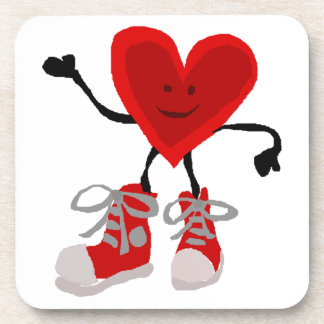 Funny Red Heart in Sneakers Cartoon Drink Coaster