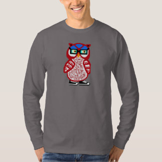 Funny Red Hipster Owl Mens Long Sleeve Gray Tshirt