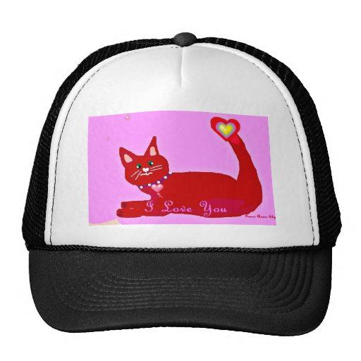 Funny Red Kitty Valentine gift assortment Hat