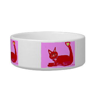 Funny Red Kitty Valentine's Pet Food Bowl