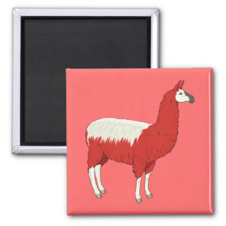 Funny Red Llama 2 Inch Square Magnet