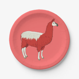 Funny Red Llama 7 Inch Paper Plate