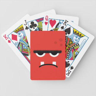 Funny Red Monster Face Bicycle Playing Cards