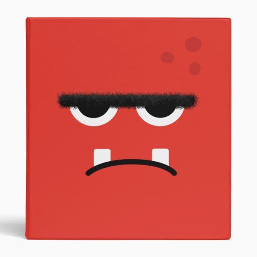 Funny Red Monster Face 3 Ring Binders