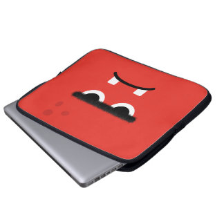 Funny Red Monster Face Laptop Sleeve