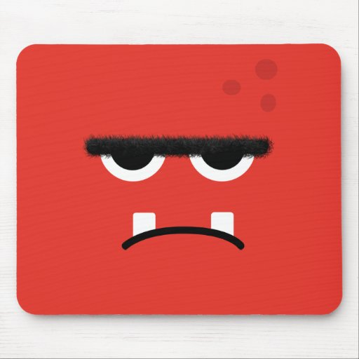 Funny Red Monster Face Mousepads