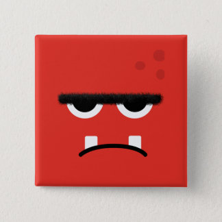 Funny Red Monster Face Pinback Button