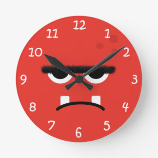 Funny Red Monster Face Round Clock