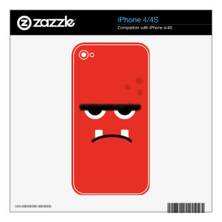 Funny Red Monster Face Decals For The iPhone 4