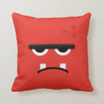 Funny Red Monster Face Throw Pillow