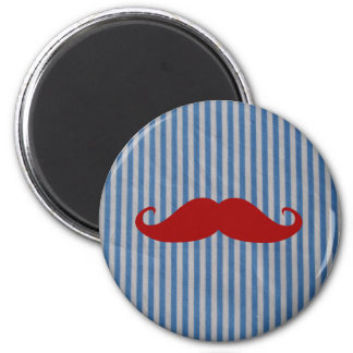 Funny Red Mustache And Blue White Stripes 2 Inch Round Magnet