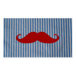 Funny Red Mustache And Blue White Stripes Business Card Templates