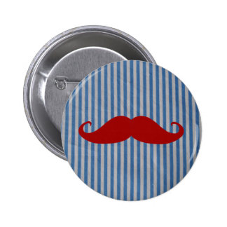 Funny Red Mustache And Blue White Stripes Pinback Button